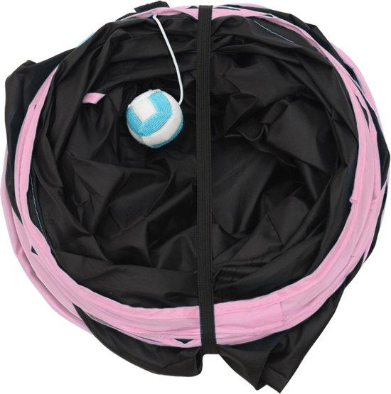 KELLYPET Kattentunnel – Hondentunnel – Konijnentunnel - Kattenspeeltje - Hondenspeeltje – 4 Ingangen – Eenvoudig Inklapbaar - Roze