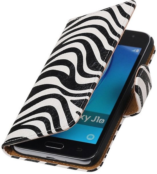 Zebra booktype cover hoesje voor Samsung Galaxy J1 Nxt / J1 Mini