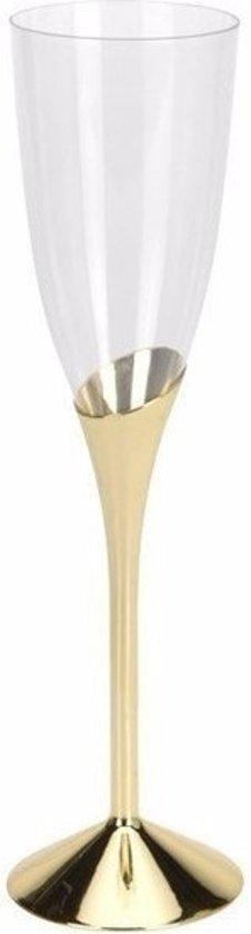 Plastic champagneglazen goud 4 stuks