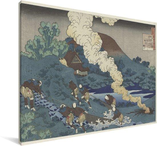Vissers die een net binnen halen - Schilderij van Katsushika Hokusai Canvas 90x60 cm - Foto print op Canvas schilderij (Wanddecoratie woonkamer / slaapkamer)