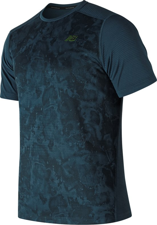 New Balance Print Max Intensity Ss V2 Sportshirt Heren - Blue