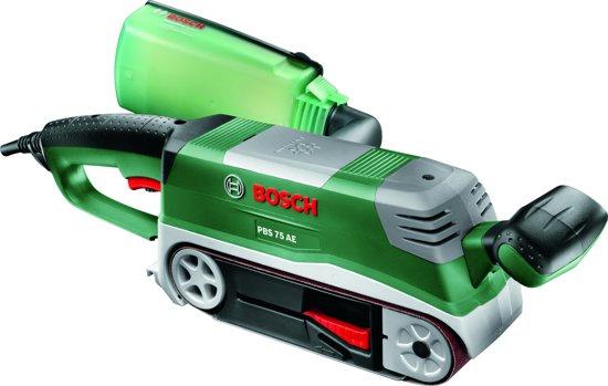 Bosch PBS 75 AE Bandschuurmachine Set - 750 Watt - 76 x 165 mm schuuroppervlak - Inclusief houder voor bandschuurmachine en verstekgeleider - Met kunststof koffer