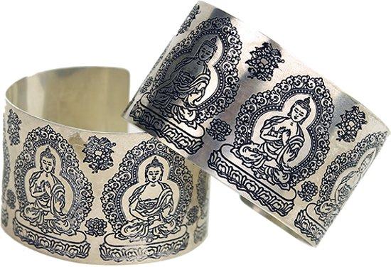 Armband boeddha wit metaal