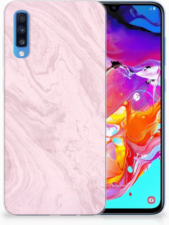 Samsung Galaxy A70 TPU Siliconen Hoesje Marble Pink
