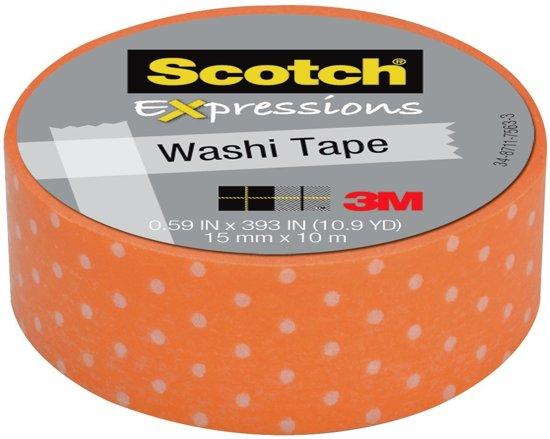 Scotch Expressions tape 15 mm x 10 m oranje met witte stippen