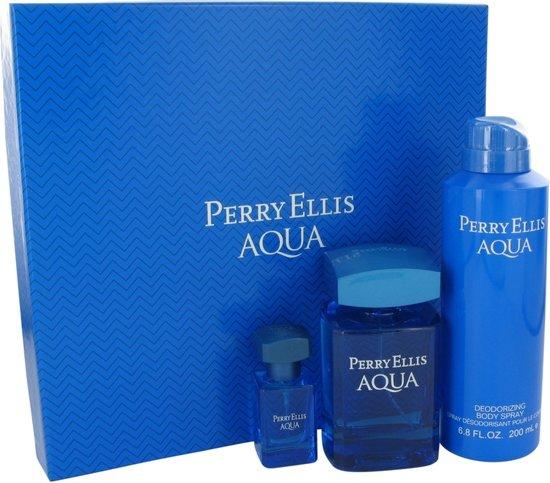 Perry Ellis Aqua Geschenkset 100 ml eau de toilette spray + 5 ml mini + 200 ml body spray