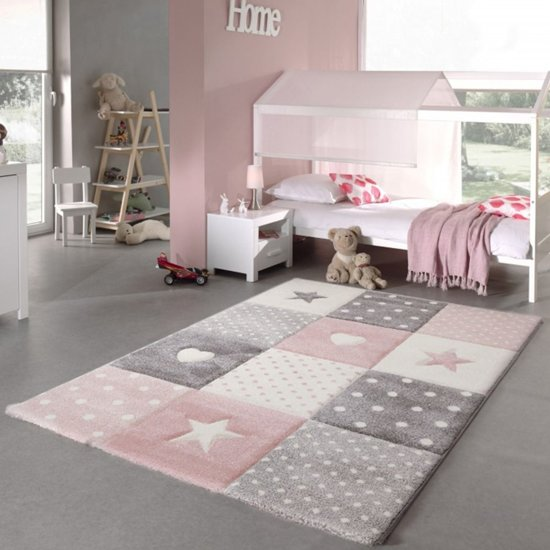 Kindervloerkleed Pastel Kids 20339-255 Pink-80 x 150 cm