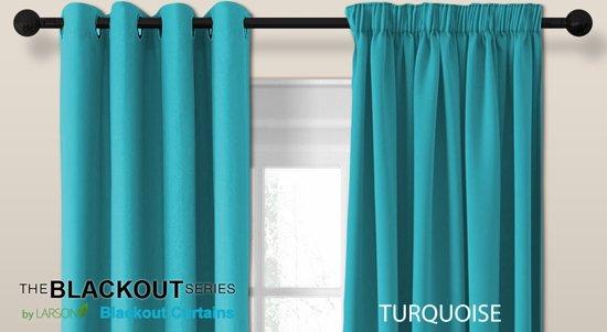 bol.com | Luxe blackout gordijn met ringen – turquoise 3x2.5m ...