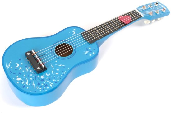 Speelgoed gitaar blauw met sterren - Tidlo