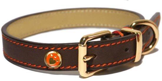Rosewood Luxury Leren Halsband Hond - Bruin - 1,3 x 25-36 cm