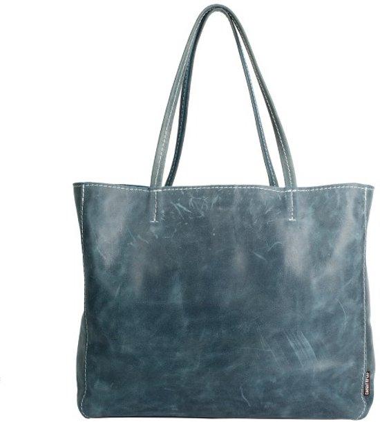 4d33252f06f bol.com   Blauw Leren Shopper   Grace's Fabulous XL