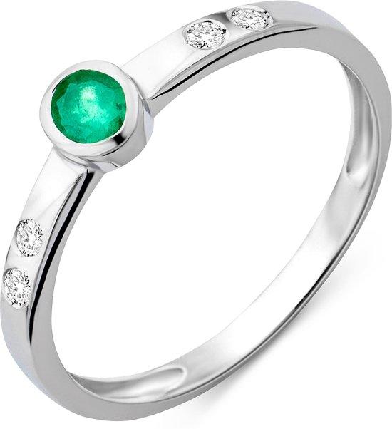 Majestine 9 Karaat Ring Witgoudkleurig (375) met Diamant 0.05ct en Smaragd maat 52