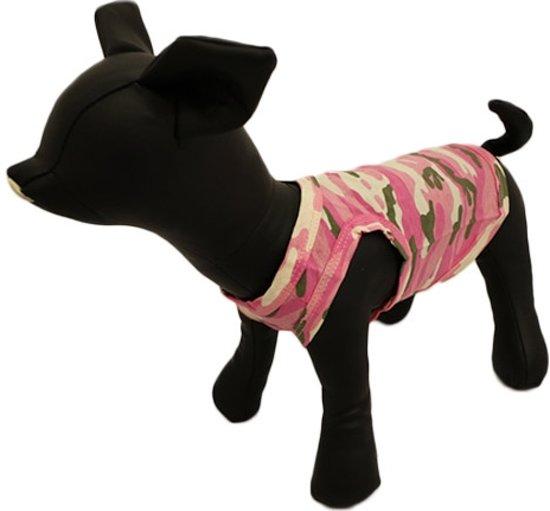 Camouflage shirt roze met v-hals. - XXL ( rug lengte 39 cm, borst omvang 52 cm, nek omvang 36 cm )