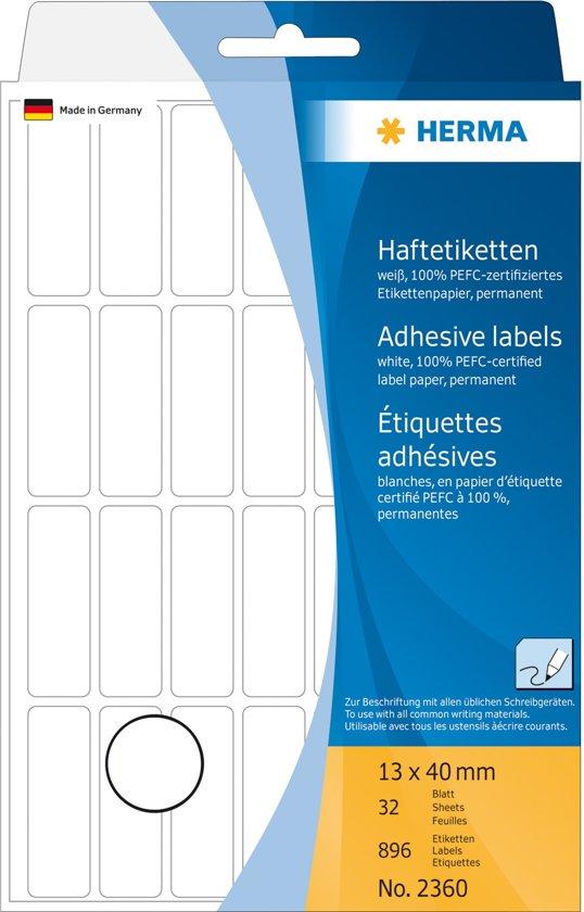 Herma 2360 multifunctionele etiketten,  wit 13x40mm   (32 vel, totaal 896 etiketten).