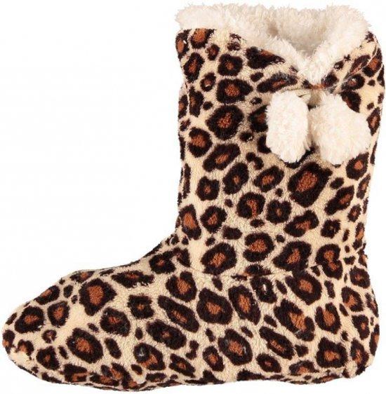 Hoge dames slof sokken met luipaard print bruin 40-42