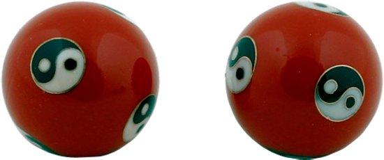 Meridiaankogels Yin Yang rood - 3.5 cm (2 stuks) - S
