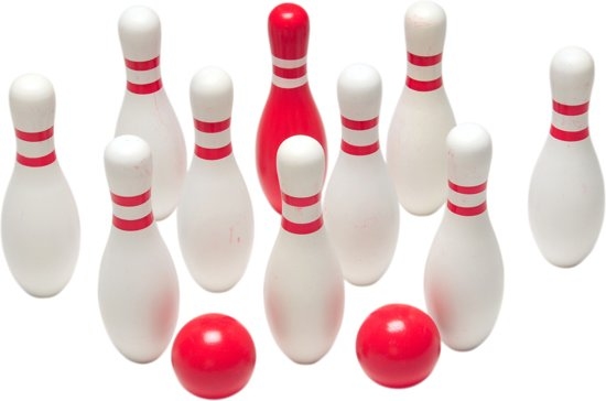 BS Toys Bowling - Hout - Rood & Wit