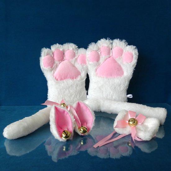 Witte Katten Set - 4-delig - oren, staart, poten, strikje - PinkPonyClubnl