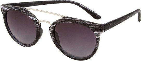 a67984cde51425 Ronde aviator zonnebril woodlook zwart