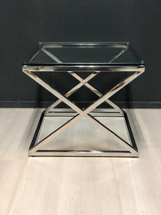 Bijzettafel Glas Chroom.Bol Com Luxuryliving Cross Bijzettafel Chroom