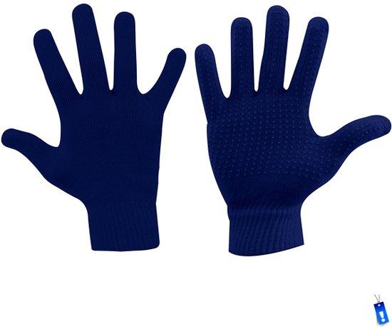Handschoenen gebreid anti-slip grip sport blauw senior maat s/m