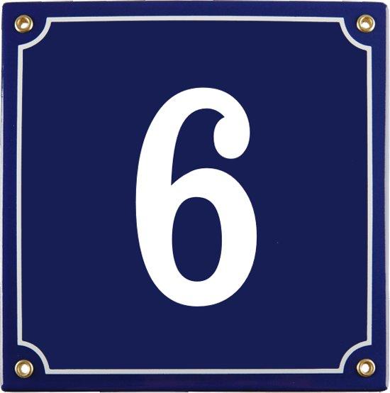 Emaille huisnummer blauw nr. 6