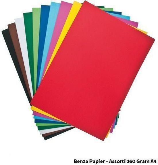 Benza - Gekleurd Printpapier Hobbykarton - 160 Gram A4 - Assortiment