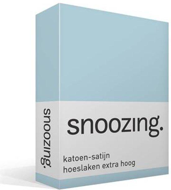 Snoozing - Katoen-satijn - Hoeslaken - Extra Hoog - Eenpersoons - 90x200 cm - Hemel