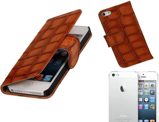 MP Case Glans Croco Bookstyle Hoes voor iPhone 5 / 5s Bruin in Benedeneind