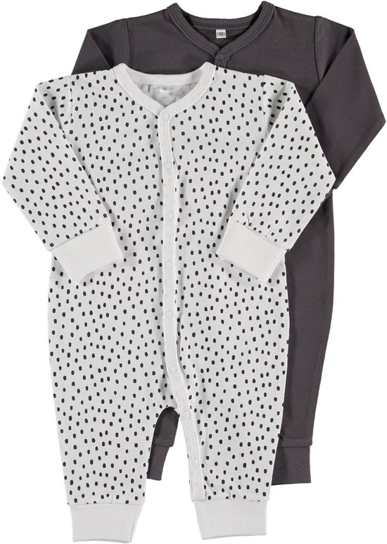 Zeeman just born pyjama - Wit/ grijs - Maat 56 - 2 stuks