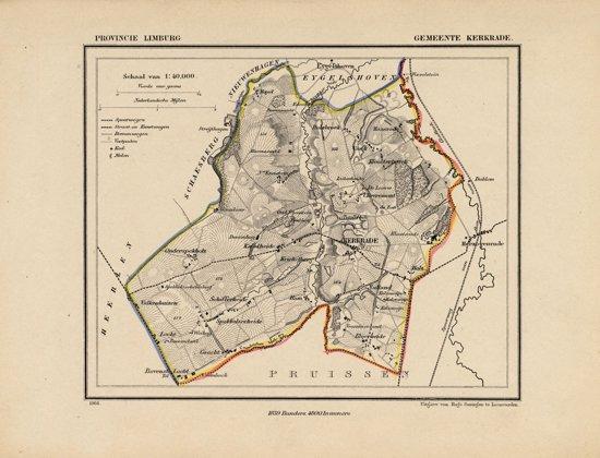 Historische kaart, plattegrond van gemeente Kerkrade in Limburg uit 1867 door Kuyper van Kaartcadeau.com