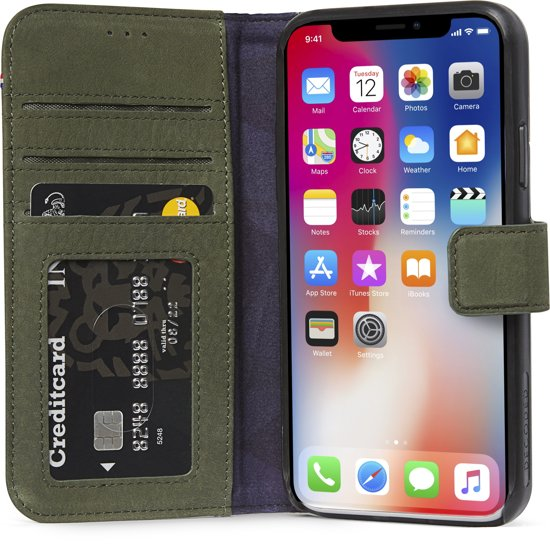 more photos c7f16 176c1 Decoded Leather Wallet Case met magneet sluiting voor iPhone X/ Xs Groen