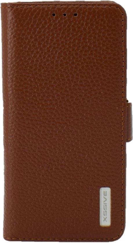 Premium Hoesje voor Samsung Galaxy S6 G920 - Book Case - Ruw Leer Leren Lederen - geschikt voor pasjes - Bruin in Transinne