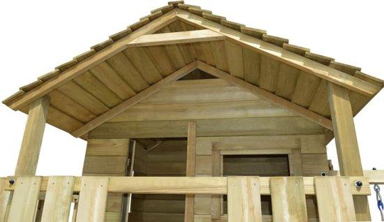 vidaXL Speelhuis met ladder, glijbaan en schommels 480x440x294 cm hout