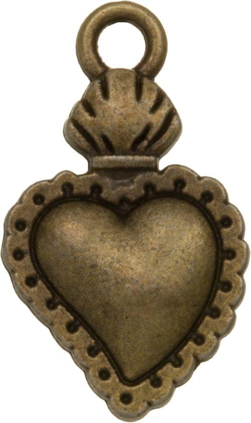 Bedel Hartje (21 x 12 mm) Brons (10 Stuks)