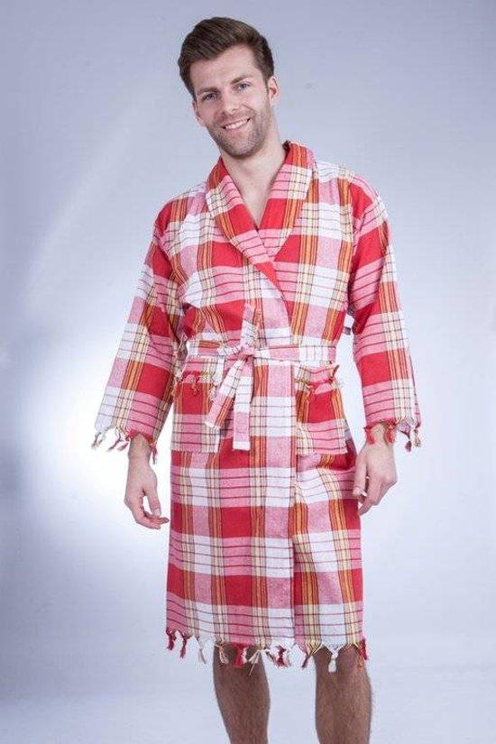 Hamam badjas rood classic geruit