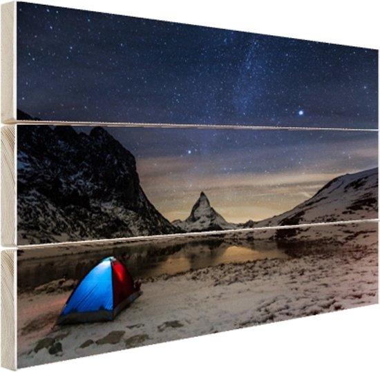 De sterrenhemel boven de Alpen Hout 80x60 cm - Foto print op Hout (Wanddecoratie)