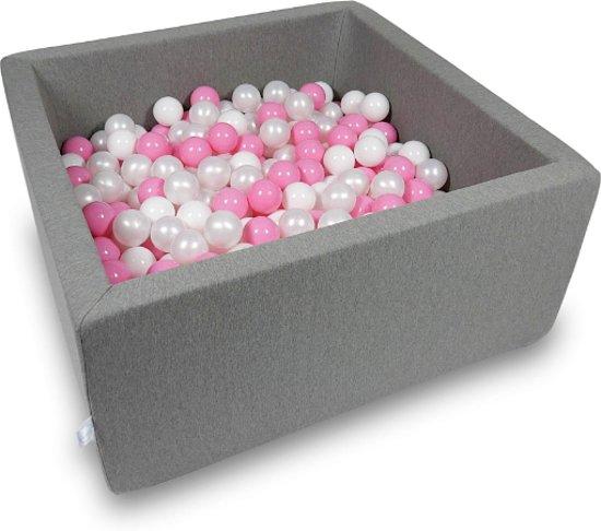 Ballenbak - 400 ballen - 90 x 90 x 40 cm - ballenbad - vierkant donker grijs