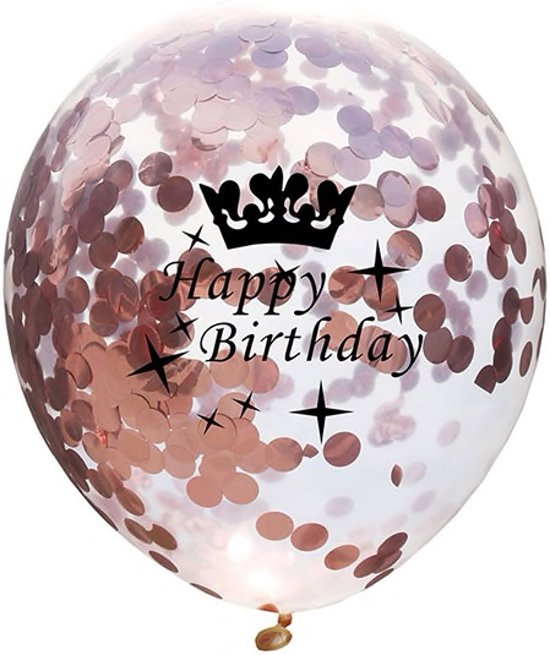 Set van 5 Confetti Ballonnen Happy Birthday Metallic Rose Goud| 30 cm Valentinaa