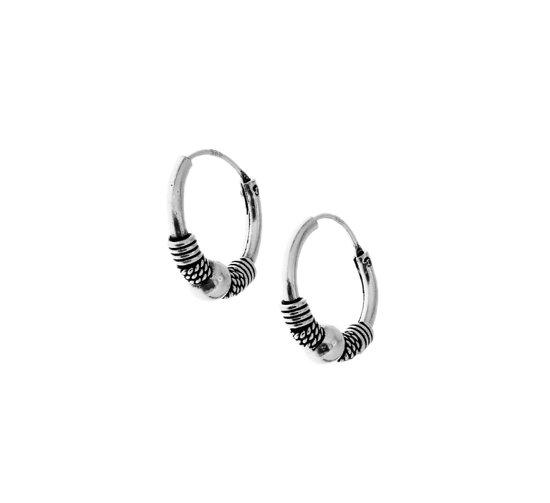 The Jewelry Collection Bali Oxi  oorringen - Zilver Geoxideerd - 14 mm