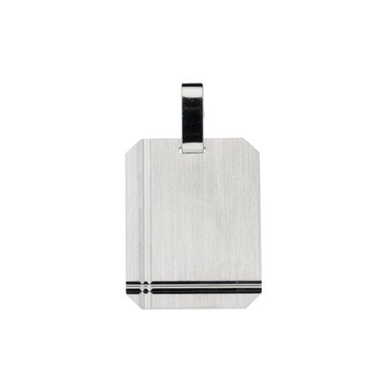 Classics&More hanger - graveerplaatje - zilver - 20 x 15 mm - rechthoek - mat