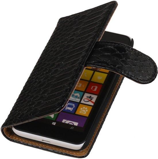 Zwart Slang Design Nokia Lumia 530 Wallet Book Case in Beekbergen