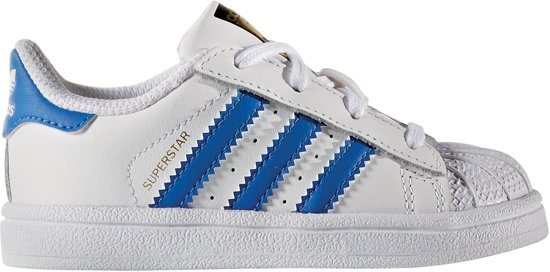 adidas Superstar I Sneakers - Maat 21 - Unisex - wit/blauw