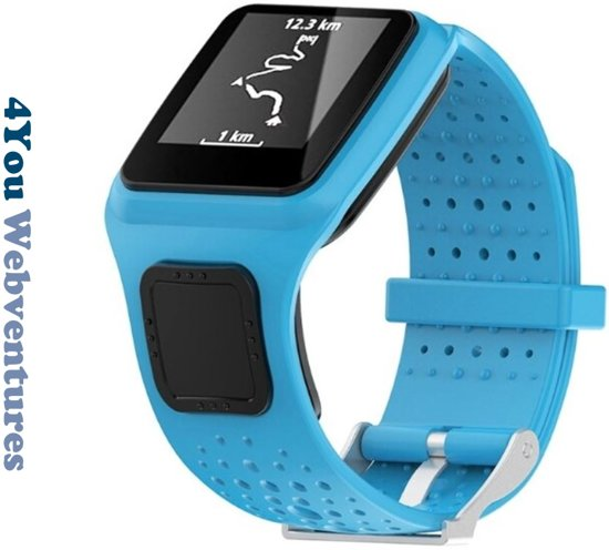 Blauw bandje voor Tomtom Runner 1 & Multi-Sport 1 - horlogeband - polsband - strap - horlogebandje - blue - 4You Webventures
