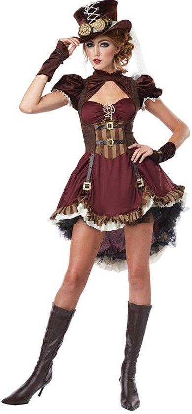 Kostuums Dames.Bordeaux Rood Steampunk Kostuum Voor Vrouwen Volwassenen Kostuums