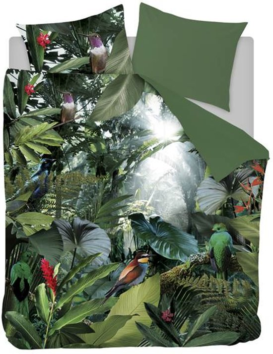 Snoozing Tropical Birds - Flanel - Dekbedovertrek - Lits-jumeaux - 240x200/220 cm + 2 kussenslopen 60x70 cm - Groen