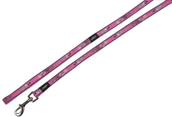 Rogz For Dogs Jellybean Hondenriem - 11 mm x 1.8 m - Royal Pink Bone