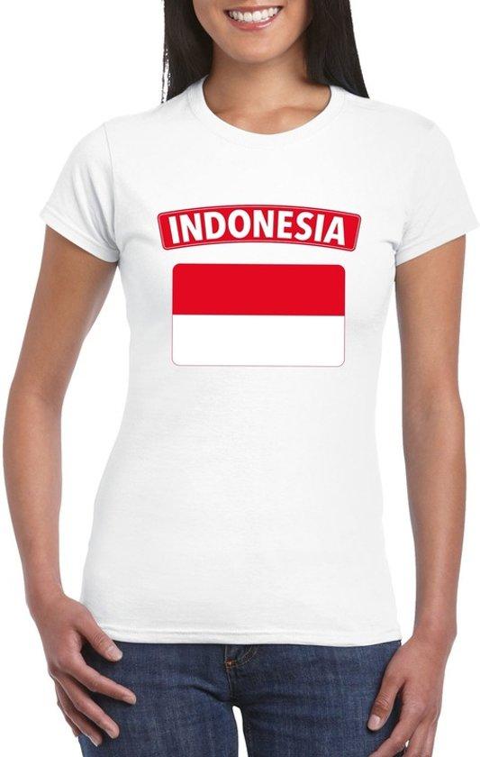 T-shirt met Indonesische vlag wit dames M