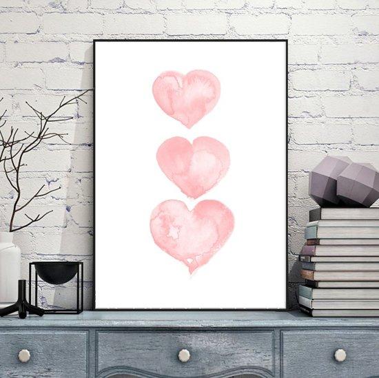 Roze Muurdecoratie Kinderkamer.Bol Com Postercity Design Canvas Poster 3 Roze Hartjes