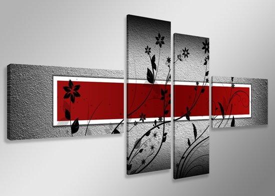 Black Flower - Canvas Schilderij Vierluik 160 x 70 cm
